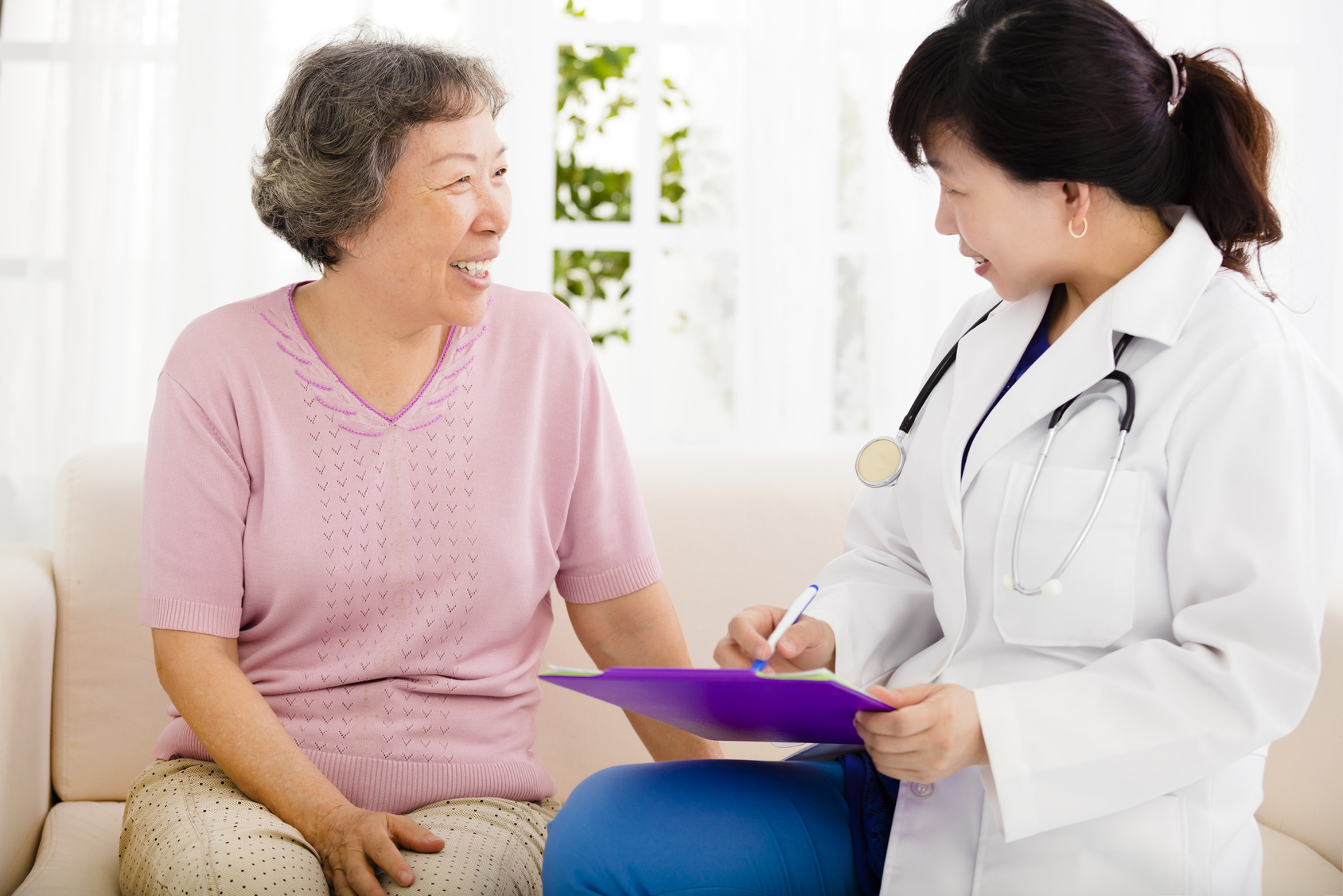 Nurse Making Notes During Home Visit With Senior woman